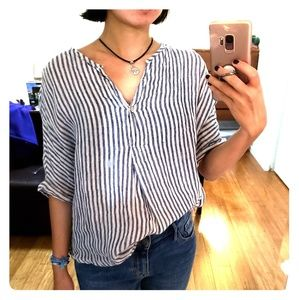 Linen Striped Bat Sleeve Loose Blouse.